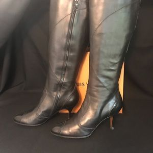 a2c1c2bcee69 Louis Vuitton · LV black leather knew high boots